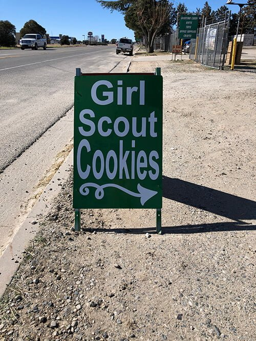 Girl Scout cookies sign